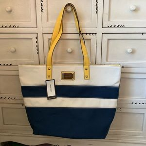 NWT NINE WEST Navy Blue & Yellow Tote